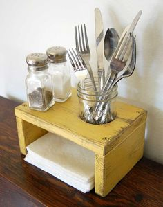 Put on the table. Wash utensils each night and replace so you never have to worry about it when dinner's ready! Genius!