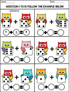 Back to school - math fun activities - 77 pages - color and b/w Fun Math Activities, Kindergarten Math Worksheets, Preschool Learning, Math Resources, In Kindergarten, Math Games, Math Addition, 3rd Grade Math, Math For Kids