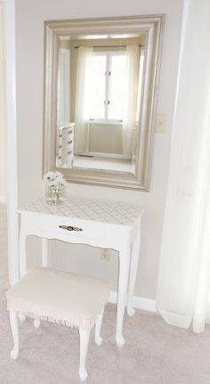 vanity inspiration  Master Bedroom Makeover: Our Renovation Before  small vanity from thrift store, painted white and stenciled with bench to maximize space. not going to hang mirror but place it on the vanity