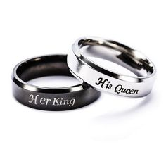 Her King and His Queen Stainless Steel Couple Promise Rings