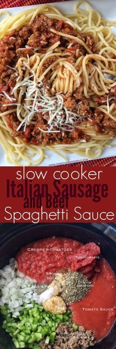 {Slow Cooker} Italian Sausage and Beef Spaghetti Sauce - Together as Family #beeffoodrecipes