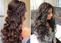 Wedding Party Hairstyles: Beautiful hairstyle options for guests, . - Wedding Party Hairstyles: Beautiful hairstyle options for guests, bridesmaids and moms! Straight, c - wedding party Quince Hairstyles, Easy Hairstyles For Long Hair, Braids For Long Hair, Bride Hairstyles, Straight Hairstyles, Sweet 16 Hairstyles, Night Hairstyles, Updo Hairstyle, Latest Hairstyles