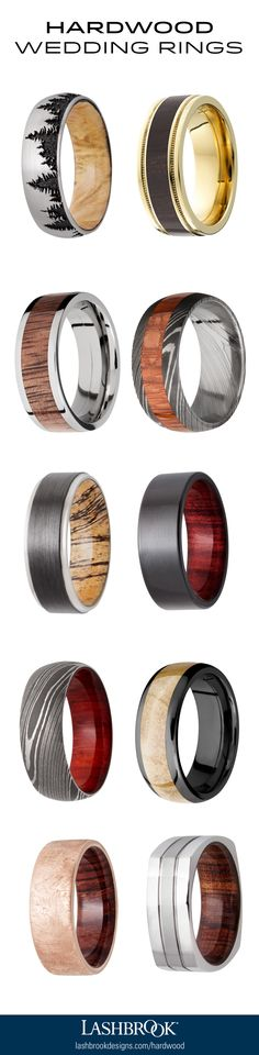 Hardwood Wedding Rings for Men by Lashbrook. Which is your favorite?