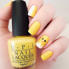 Yellow baby chick Easter nails for spring