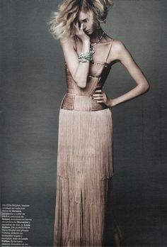 Versace long silk crepe fringed dress