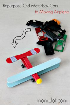 Repurposing Matchbox Cars into Moving Airplanes- 25 Cute Toys That You Can Make For Your Kids Craft Activities For Kids, Diy Crafts For Kids, Projects For Kids, Fun Crafts, Diy Projects, Daycare Crafts, Craft Ideas, Play Ideas, Clay Crafts