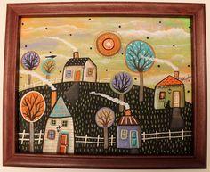 Hillside FRAMED ORIGINAL Canvas Panel PAINTING FOLK ART 8 x 10 Karla Gerard #FolkArtAbstractPrimitive