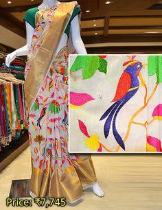 Elegant Chanderi designer silk saree. Visit Pothys Boutique, G N Chetty Road, T Nagar, Chennai, to view the finest range of designer sarees.