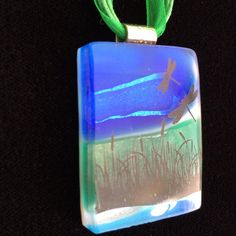 CHRISTMAS SALE Dragonflies Pendant Dichroic Glass by idzyne