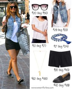 Maria Menounos in black shorts, a denim vest, and white tee - get the look for less! www.wearitforless.com