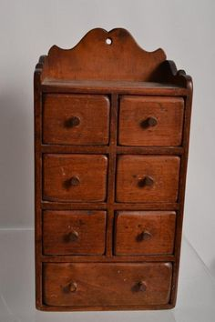 19th C Softwood Hanging Spice Chest