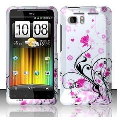 HTC Vivid / Holiday (At) Rubberized Design Cover - Pink Vines $2.69