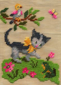 unfinished needlepoint found at a thrift store. posted March 2013 on madewi. Cute Cross Stitch, Cross Stitch Bird, Cross Stitch Samplers, Cross Stitch Animals, Cross Stitch Flowers, Cross Stitch Charts, Cross Stitch Designs, Cross Stitching, Cross Stitch Embroidery