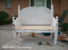 Bench Made From A Headboard And Footboard - Addicted 2 Decorating® old owners left and headboard and footboard in the backyard we could use