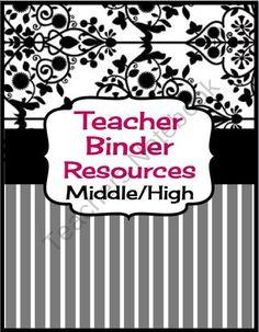 Teacher Binder Resources For Middle & High School (Editable)  from Presto Plans on TeachersNotebook.com (10 pages)  - Useful resources for any middle high school teacher binder!