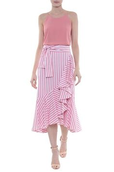 Simple Summer to Spring Outfits to Try in 2019 Skirt Outfits, Dress Skirt, Midi Skirt, Modest Fashion, Girl Fashion, Fashion Outfits, Casual Wear, Casual Dresses, Stripe Skirt