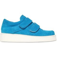 Au Jour Le Jour Women 30mm Faux Suede Sneakers ($200) ❤ liked on Polyvore featuring shoes, sneakers, blue, faux suede shoes, velcro sneakers, blue sneakers, velcro shoes and velcro strap sneakers