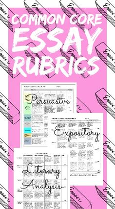 Essay Writing Rubrics for the high school English Language Arts classroom! Three common core aligned rubrics: Persuasive Writing, Expository Writing & Literary Analysis!