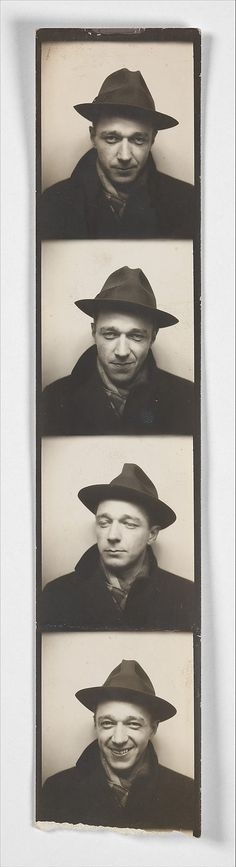 [Self-Portrait in Automated Photobooth]  Walker Evans - 1930's.
