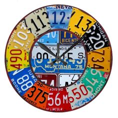 License Plate Clock - Vintage Numbers Car Tag Art.