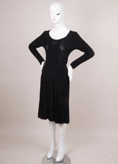 "Black Long Sleeve Pleated ""CC"" Knit Dress"