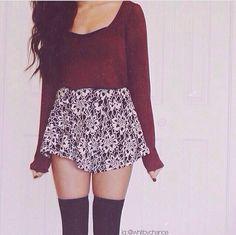 burgandy crop top sweater, high waisted skirt, thigh high over the knee black socks