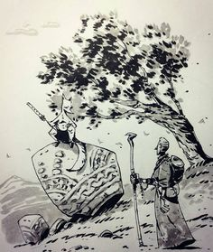 Interesting #fantasy #penandink #illustration by @ullikummi of a wayward traveler who has come upon some sort of anthropomorphic animal (a flute-playing fox perhaps?). From the body language I would suppose that they are in the middle of a non-confrontational discussion. My guess would be that the fox is providing directions to the man though if the man is going to believe what the fox tells him I would bet that the man is in for a rather unpleasant bit of trickery!  Love the shading on the…