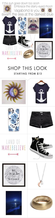 """""""If the sun goes down too soon, embrace the starry-eyed moon. vagabond is you, swam the sea at the darkest blue"""" by kitcat01 ❤ liked on Polyvore featuring NOVICA, Casetify, Converse, Graham & Brown, ChloBo and Bare Collection"""