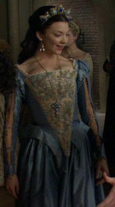 Anne Boleyn blue lace gown better view