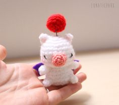 Cute amigurumi Moogle from final fantasy as by LunaticparkEtsy