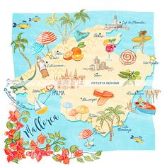 Mallorca map to help you explore all of its beauties, entirely personalized to your taste! This is a great addition to a wedding website, especially for destination weddings. Create something timeless as a wedding gift, wedding favor, or just because! Get in touch for more information: emerence@potestadesigns.com  #PotestaDesigns #spanishwedding #spain #personalisedmap #map #mallorca #destinationwedding