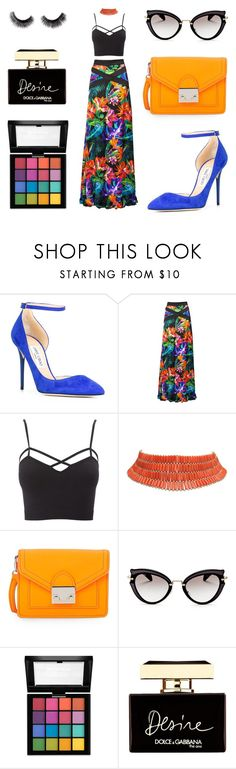"""Tropical Princess"" by kaitlyntalowhatever ❤ liked on Polyvore featuring Jimmy Choo, Matthew Williamson, Charlotte Russe, Loeffler Randall, Miu Miu, NYX, Dolce&Gabbana and plus size clothing"
