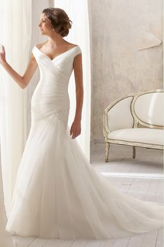 2014 V Neck Off The Shoulder Column Wedding Dress Pleated Bodice With Beaded Sash Tulle Chapel Train