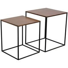 2x tables gigognes m tal finition cuivre vieilli coppen - Table gigogne metal ...