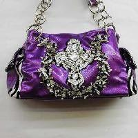 Zebra Print Purple Handbag with Rhinestone Cross $35.00