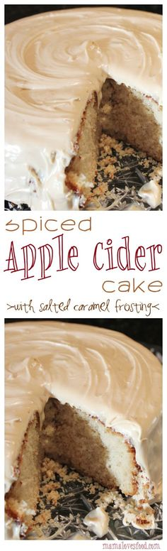 Spiced Apple Cider Cake with Salted Caramel Icing Spiced Apple. Spiced Apple Cider Cake with Salted Caramel Icing Spiced Apple Cider Cake with Salted Caramel Icing Köstliche Desserts, Delicious Desserts, Dessert Recipes, Yummy Food, Sweet Desserts, Dinner Recipes, Spiced Apple Cider, Spiced Apples, Apple Recipes