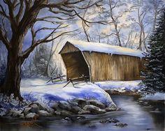 Snow Covered Bridge Painting  - Snow Covered Bridge Fine Art Print