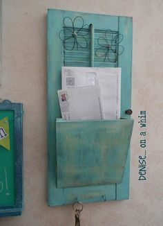 Repurposed Shutter becomes mail receptacle :)