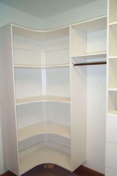 Bathroom, How To Design Walk In Closet Chic and Elegant: Wonderful White Plywood Small Corner Walk In Closet Design With Exotic Laminated Wo...