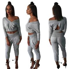 WINTER TWO PIECE BODYCON JUMPSUIT LONG SLEEVE SOLID COLOR PLAYSUIT SEXY CLUB WOMEN ELEGANT ROMPERS JUMPSUITS