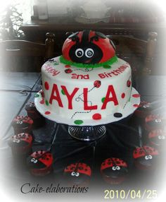lady bugs all around - Ayla's 2nd birthday cake.