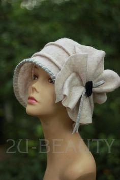 914b69c9b2ed4 Designer Felted Hat CLOCHE HAT Wearable art White hats Felt RETRO Hat  Handmade Clothing women Hats