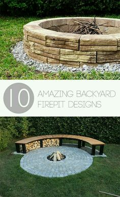 Ordinaire 10 Amazing Backyard Firepit Designs  Great Ideas For Stone Firepits, DIY  Firepit Designs, Tutorials And More. **Rounded Seating In Walkout