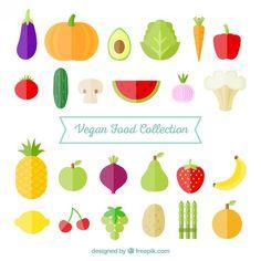 Colección de verduras planas y frutas Vector Gratis