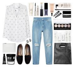 """""""Arja anchor"""" by sophiehackett ❤ liked on Polyvore featuring Monki, Equipment, Steve Madden, Whistles, Make, Aesop, Chantecaille, NARS Cosmetics, JINsoon and MAC Cosmetics"""