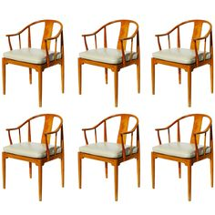 """Set of six, """"Chinese Chairs"""" of 1943 was the first great work by the legendary Hans Wegner. Of all of Wegner's Ming-inspired chairs, this early design was the most faithful to its classical model. Handmade of cherry wood, these famous chairs are actually very practical, and in use, extremely comfortable."""