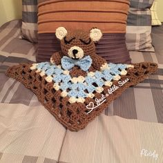 Teddy bear Lovey Blanket Baby Knitting, Crochet Baby, Lovey Blanket, Chrochet, Handmade Crafts, Crochet Projects, Baby Gifts, Toddlers, Beanie