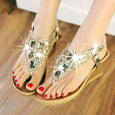 Bohemian Women's Wedge Sandals With Beading and Rhinestones Design