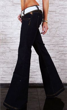 DARK BLUE JEANS SEXY LOW RISE OPEN BOOT BELT INCL.