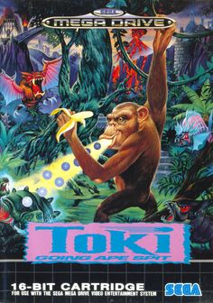 Toki - Sega Mega Drive Front Cover But what an awful game conversion. Vintage Video Games, Classic Video Games, Retro Video Games, Vintage Games, Video Game Art, Retro Games, Mega Drive Games, Sega Mega Drive, Game Boy